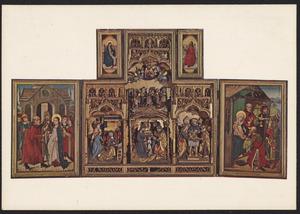 Het huwelijk van Maria en Jozef (binnenzijde linkerluik); De annunciatie, de geboorte, de besnijdenis (middendeel); De aanbidding der Wijzen (binnenzijde rechterluik); De kroning van Maria door God de Vader (binnenzijde bovenluiken)