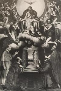 Aanbidding van de heilige drieëenheid met de Maagd en Johannes de Doper als bemiddelaars, met daaronder de Heiligen Carlo Borromeo, Filippo Neri, Franciscus en een onbekende heilige