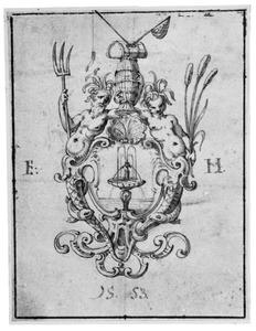 Ontwerp voor ornament met fontein en visgerei