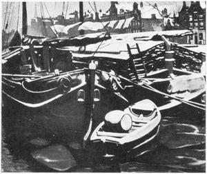 Oude Schans, te Amsterdam, met turfschepen