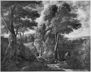 Boslandschap met mediterende monnik en twee ooievaars