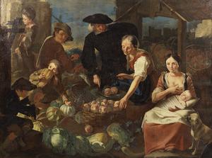 Koopvrouwen met klanten op een marktkraam met groente, vruchten en vis