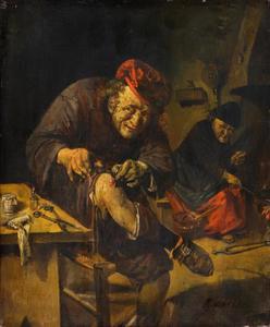 Boer in een interieur die zijn gewonde knie behandelt