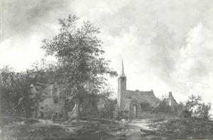 Landschap met een boerderij, een kerk en een ruïne, mogelijk Rijnsburg