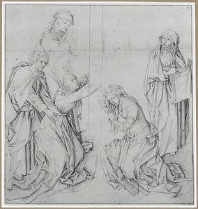 Vijf treurende figuren aan de voet van het kruis