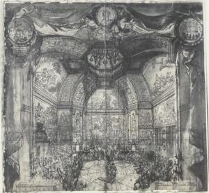 Bal in de Oranjezaal van Paleis Huis ten Bosch gegeven door prinses Mary in december 1686 ter gelegenheid van de verjaardag van Willem III, de prins van Oranje