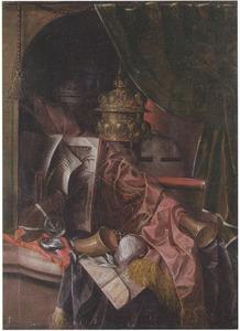 Vanitasstilleven met akeleibeker, horloge en andere voorwerpen in een nis met opzijgeschoven gordijn