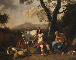 Landschap met Mercurius die op de fluit speelt om Argus in slaap te sussen