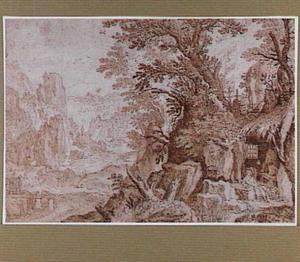 Rotsachtig rivierlandschap met de Heilige Hieronymus in zijn grot