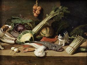 Stilleven met vissen, groenten, een kat en een hond