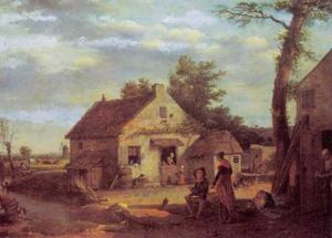 Boeren bij boerderij