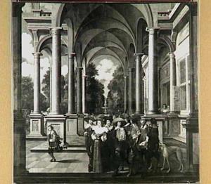 Galerij met prins Frederik Hendrik van Oranje-Nassau (1581-1647), Amalia van Solms )1602-1675), Ernst Casimir, graaf van Nassau-Dietz (1573-1632) en mogelijk Christaan van Brunswijk-Wolfenbüttel (1599-1626) of Hendrik Casimir I van Nassau-Dietz (1612-1640)