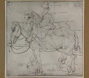 Ingespannen paarden met boer