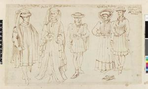 Studie van Anton van Bourgondië, Jan IV van Bourgondië en drie edellieden