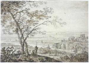 Bergachtig rivierlandschap met twee figuren bij een boom