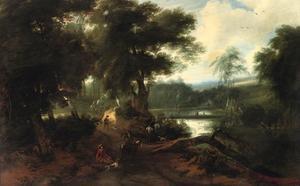 Boslandschap met een rustende jagers bij een vijver