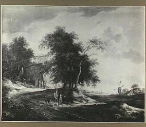 Landschap met boerenwoning, op het tweede plan een molen