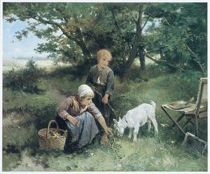 Twee kinderen met een geit naast een schildersezel in de wei