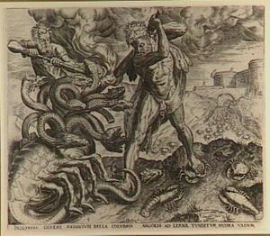 Hercules doodt de Hydra van Lerna met de hulp van Iolaus