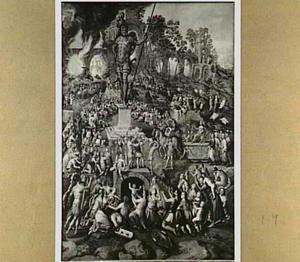 Nebukadnessar laat een groot beeld buiten Babylon op de vlakte van Dura maken; De drie jongelingen, Sadrak, Mesak en Abadnego, die hij in een oven liet verbranden, komen daar zonder verwondingen uit  (Daniel 3:1-2 & 19-23)