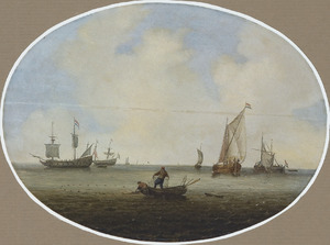 Zeilchepen en een vissersboot met vissers die hun netten binenhalen op een kalme zee