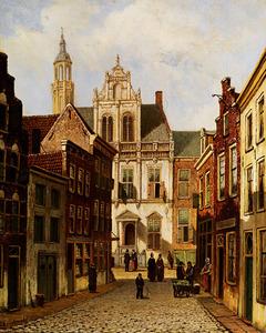 Gezicht op het Oude Stadhuis te Den Haag vanuit de Nieuwstraat