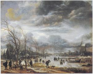 Winterlandschap met molen bij opkomende storm