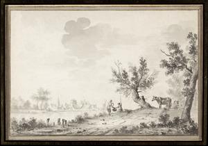 Rivierlandschap met vissers; in de achtergrond een dorp
