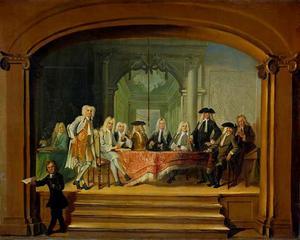 Portret van de regenten van het Aalmoezeniersweeshuis in Amsterdam (olieverfstudie)