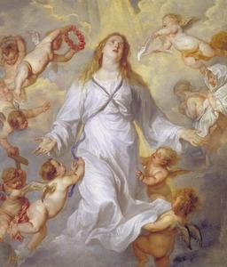 De Maagd Maria als middelares, omringd door engelen met de instrumenten van de Pasie