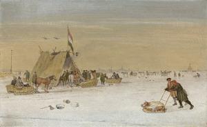 Winterlandschap met figuren op het ijs en een 'koek-en-zopie' tent