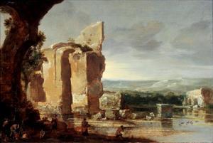 Italiaans landschap met ruïne en eendenjagers