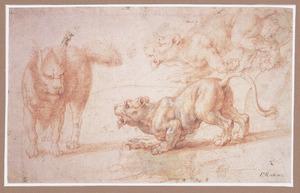 Gefantaseerde viervoeter bedreigd door een leeuwin