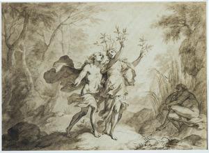Daphne op de vlucht voor Apollo in een laurierboom veranderd (Metamorfosen 1:452 e.v.)