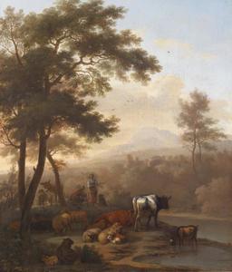 Italianiserend landschap met een herder en zijn kudde