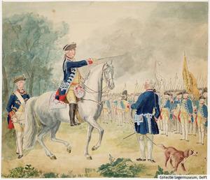 Exercitie van het regiment Hollandsche Gardes in de Koekamp te Den Haag onder bevel van J. van Kretschmar