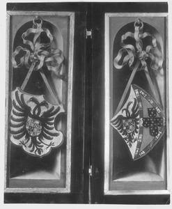 Heraldisch wapen voor een nis (links); heraldisch wapen voor een nis (rechts)