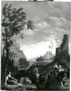 Arcadisch landschap met herderinnen en kinderen