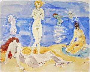 Baadsters aan het strand