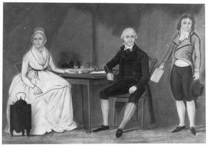Portret van een man, waarschijnlijk Chistiaan Hiebendaal (1743-1828), met vrouw en zoon