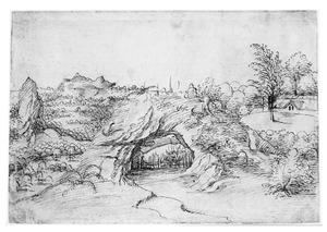 Rotsheuvel met soldaten bij een hek (gevangenneming van Christus?)