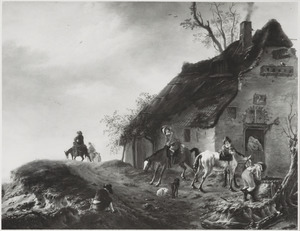 Jagers met paarden en honden bij een herberg