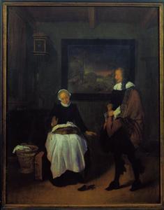 Interieur met een man en een naaiende vrouw