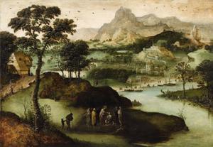 Landschap met de genezing van de blinde te Jericho, in de achtergrond Tobias en de engel (Matteus 20: 29-34, Marcus 10: 46-52, Lucas 18: 35-43)/ (Tobias 6: 1)