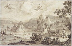 Panoramalandschap met de val van Icarus (Metamorfosen 8:183-235)