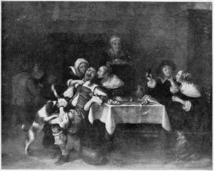 Hofmakend en drinkend gezelschap in een interieur