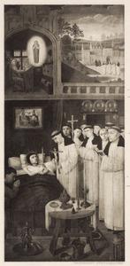 Episoden uit het leven van de H. Augustinus: de verschijning van de H. Hieronymus (linksboven), de H. Augustinus wandelend met medebroeders (rechtsboven), het sterfbed van de H. Augustinus (onder)