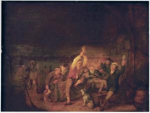 Vrolijke boeren en een man met een tamboerijn in een herberg
