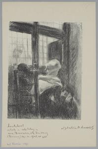Vrouw zittend op een stoel bij een venster in een interieur