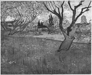 De boomgaard met een gezicht op Arles